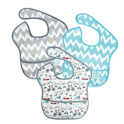 Bumkins Superbib Önlük 3lü Paket - Urban Bird, Gray Chevron, & Blue Chevron
