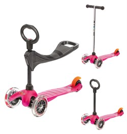 Micro Mini Scooter Oturak O ve T Bar 3lü Pink